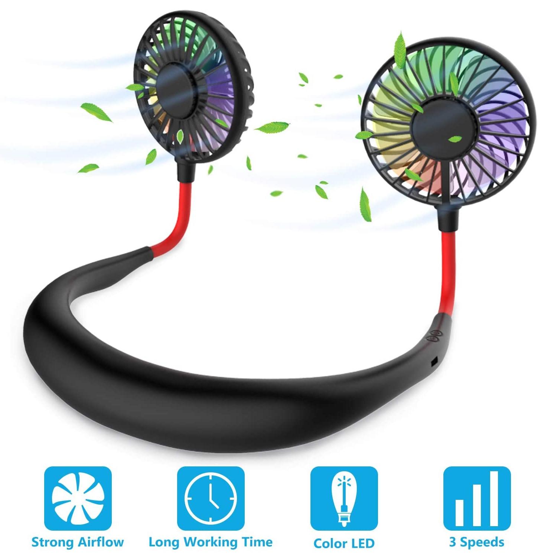 Ventilador portátil de cuello Manos libres Mini ventilador USB batería recargable banda para el cuello ventilador luz LED enfriador de aire para viajes Oficina hogar deportes Dispositivos USB    - AliExpress