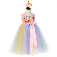 Girls Unicorn Party Birthday Princess Tutu Dress Pink Ribbon Bow Flower Girl Party Dress Children Christmas Pony Dress Ball Gown цена