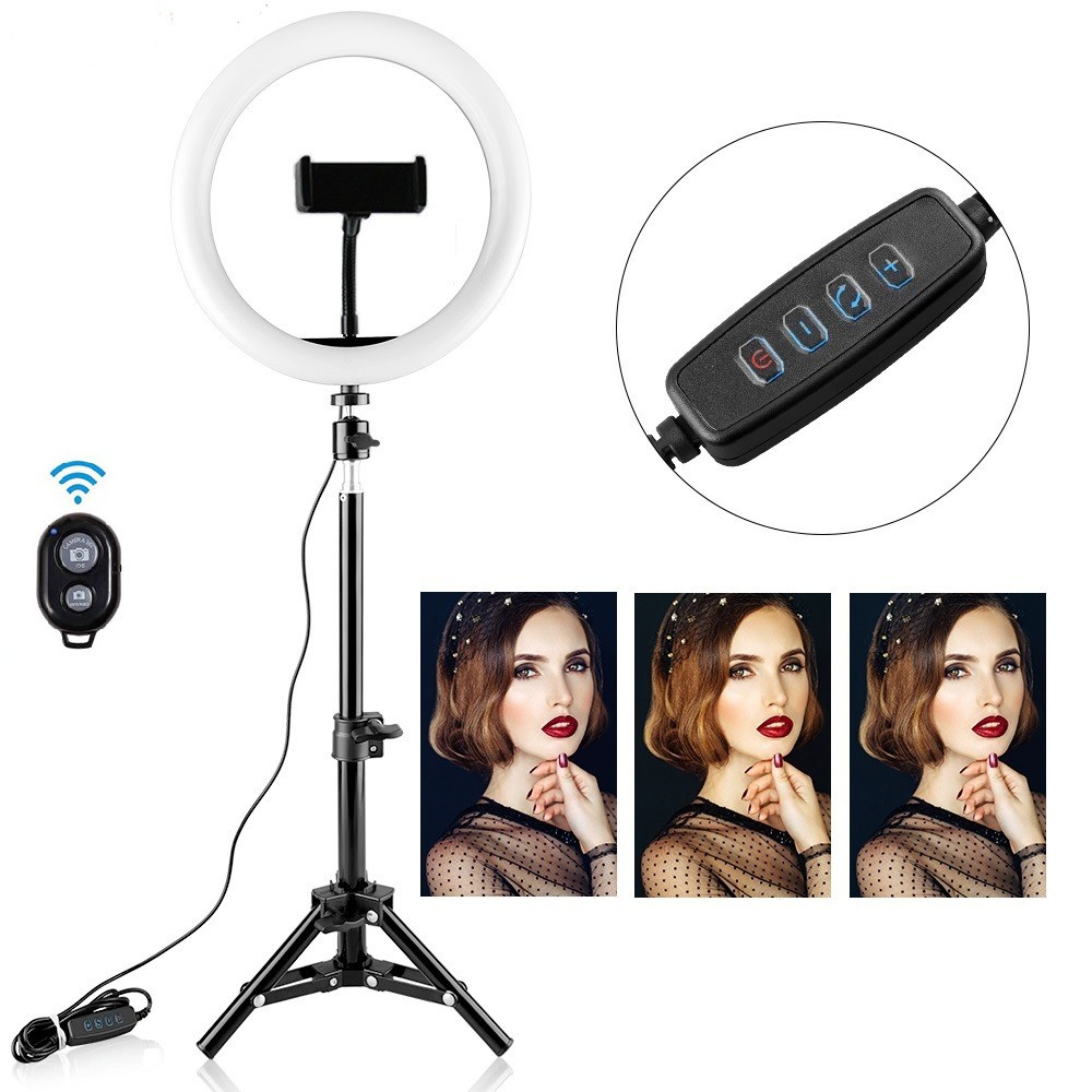 SPASH 12 cal USB lampa pierścieniowa możliwość przyciemniania pulpitu lampa pierścieniowa 3 tryby światła LED lampa pierścieniowa do makijażu Youtube z 45cm statyw