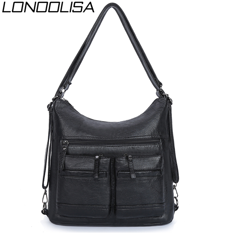 Women Washed PU Leather Travel Backpack Female Bagpack School Shoulder Hand Bags For Women 2020 Back Pack Mochilas Sac A Main