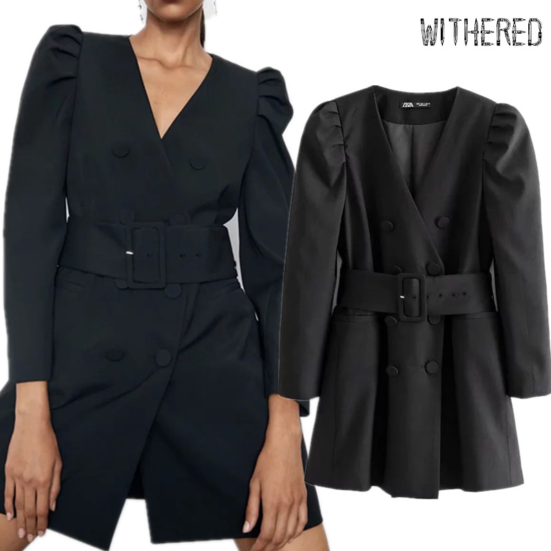 Withered England Blazer Sashes Puff Sleeve Suits Long Blazers Dress Women Vestidos De Fiesta De Noche Vestidos Party Dress Women