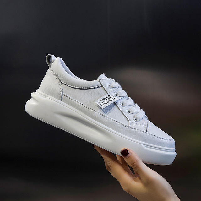 Big Size Women Sneakers Autumn Leather Light White Sneaker Female Platform Vulcanized Shoes Spring Casual Breathable Sports Shoe 8