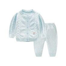 Бутик Осень Теплый новорожденных комплект со свитером верхняя одежда хлопок мягкие вязаные изделия для младенцев мальчиков и девочек комплекты одежды Z635