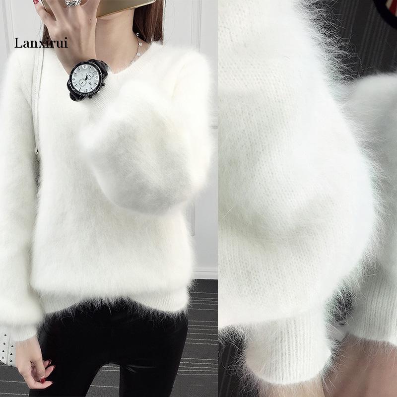 Autumn Loose Pullover Sweater Furry Lantern Sleeves Imitation Water Velvet White Plush Thickening Sweater Warm Women Tops