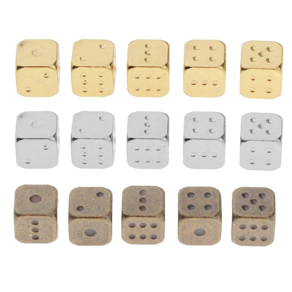 Набор из 5 штук 6-сторонних кубиков, металлические Цветные Кубики с золотыми наконечниками, круглые угловые кубики для ролевых игр, сделай са...