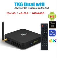 TV BOX TX6 smart TV box Allwinner H6 Quad core Android 9.0 2G 16G 32G 64G USB3.0 2.4G/5Ghz WiFi BT 6K Neftflix Set top box