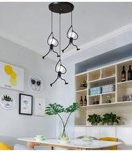 Plafonnier suspendu créatif en fil métallique, style nordique, petit homme de fer, éclairage décoratif d'intérieur, idéal pour une chambre d'enfant ou un loft