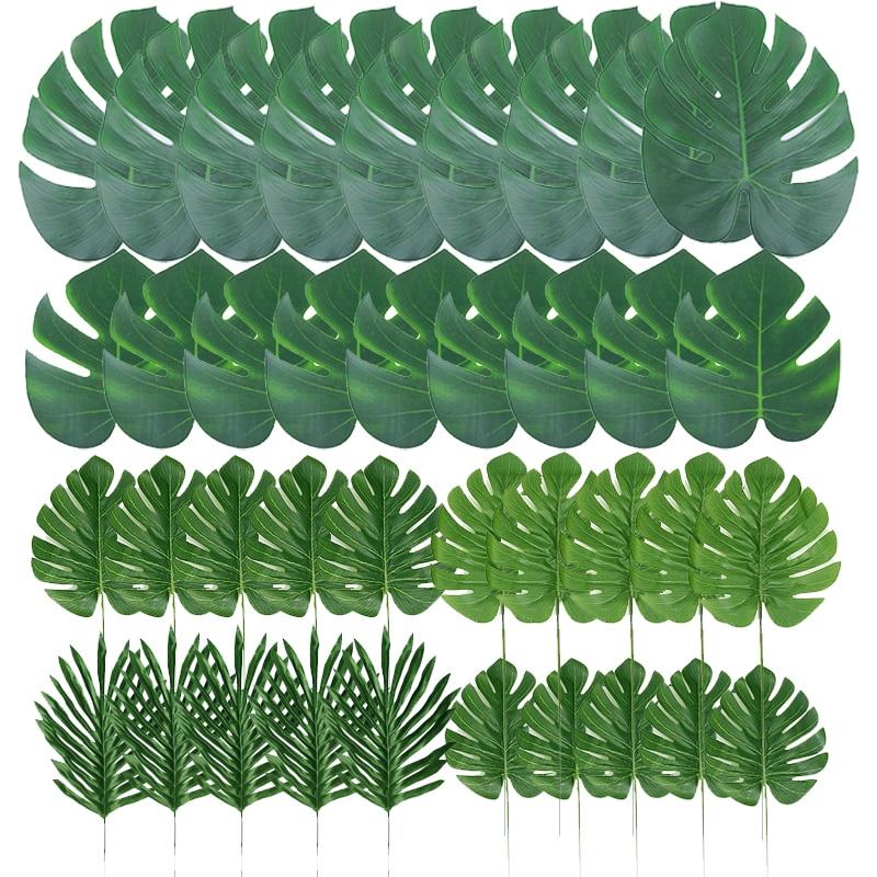 Feuilles de palmier Tropical grande taille 14 pouces | Plante monstera artificielle, décoration de table pour mariage/fête, fournitures en Luau hawaïenne pour jardin