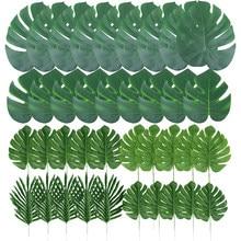 Feuilles de palmier tropicales de 14 pouces, grande feuille monstera, plante artificielle pour décoration de table de mariage/fête, fournitures Luau hawaïennes pour jardin