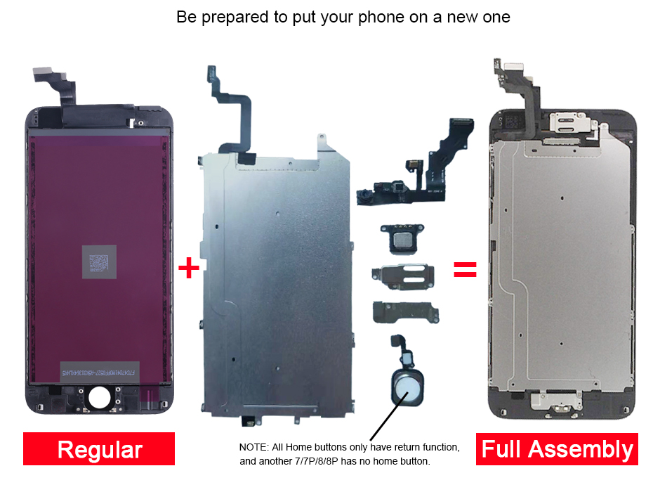 H1d52804d4ad9434abc7fca4962acc5e9V AAA+ LCD For iPhone 6 6Plus 6S Plus LCD Full Assembly Complete With 3D Touch Screen Replacement Display for iphone 5S LCD Camera