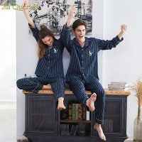 Couple Pajamas 2019 100% Cotton Cardigan Long Sleeved Men And Women Pajamas Stripe Embroidered Lapel Couple Home Suit Sleep Wear