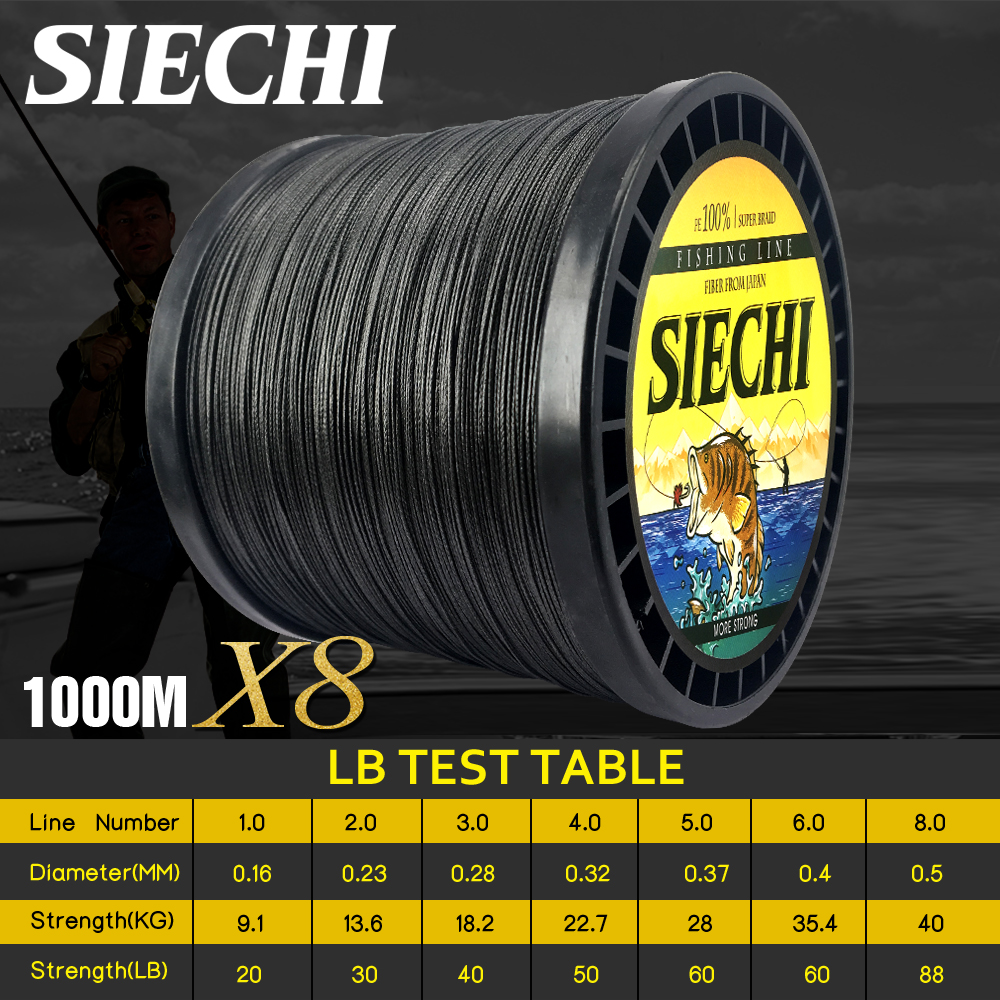 siechi 1000m 8 fios multicor pe trancado fio multifilamento linha de pesca equipamento de pesca 20lbs