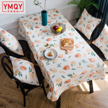 2019 New waterproof pastoral tablecloth Nordic fruit peach printed table cloth cover towel rectangular household table cover