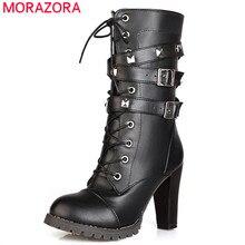 MORAZORA 2020 جديد وصول المرأة حذاء من الجلد جولة تو أحذية عالية الكعب البريدي الدانتيل يصل برشام الخريف الشتاء الأحذية الإناث حجم كبير 48