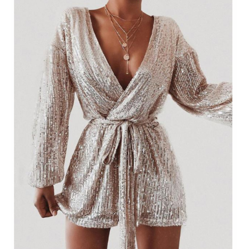 2019 Fashion Women Sequins Bling   Romper   Evening Party Elegant Playsuits Long Sleeve V-neck Formal Club Short Jumpsuits Overalls
