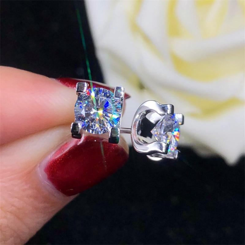 Female Luxury Crystal Zircon Round Stone Stud Earrings For Women Wedding Jewelry Vintage Fashion Rose Gold/Silver Color Earrings