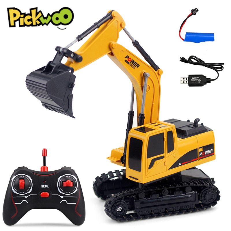 1:24 RC Excavator Toys 2.4Ghz 6 Channel Remote Control Engineering Car Metal and Plastic Vehicle RTR for Kids Christmas Gift