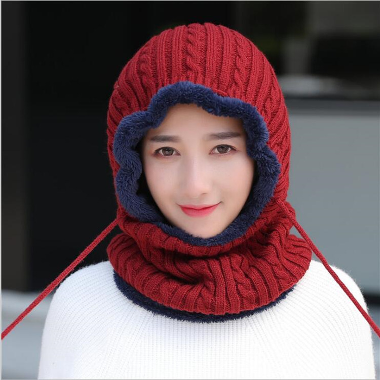 Winter Cold Protection And Heating Hat Female Cover Head Wool Hat Outdoor Cycling With Velvet Bag Head Neck Protection Hat