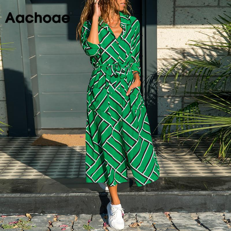 Aachoae Striped Shirt Dress Women Summer Bandage Pockets Decorate Casual Dress Long Sleeve Fit And Flare Lady Dresses Ropa Mujer