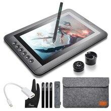 """Parblo mast10 10.1 """"6 teclas gráficos tablet desenho monitor com bateria menos caneta passiva + mini dp para hdmi adaptador para mac/windows"""