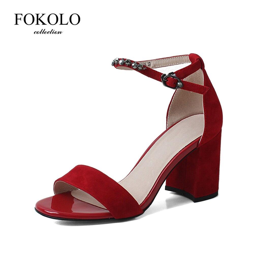 FOKOLO/Новинка; Женские босоножки с пряжкой и ремешком на щиколотке на толстом каблуке; Сезон лето; Коллекция 2020 года; Красные замшевые вечерние туфли; Классическая женская обувь; L10|Боссоножки и сандалии|   | АлиЭкспресс
