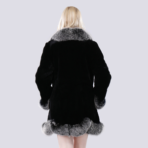 Image 5 - חדש חורף נשים טבעי ארוך סגנון אמיתי רקס ארנב פרווה מעיל רוסיה ליידי חם אופנה רקס ארנב פרווה מעיל עם שועל פרווה צווארון