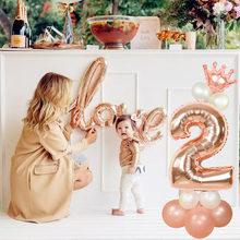 17 pçs diy pé 32 polegada rosa número da folha de ouro balões kit para 1st 2345 decorações festa aniversário natal ano novo bolas digitais
