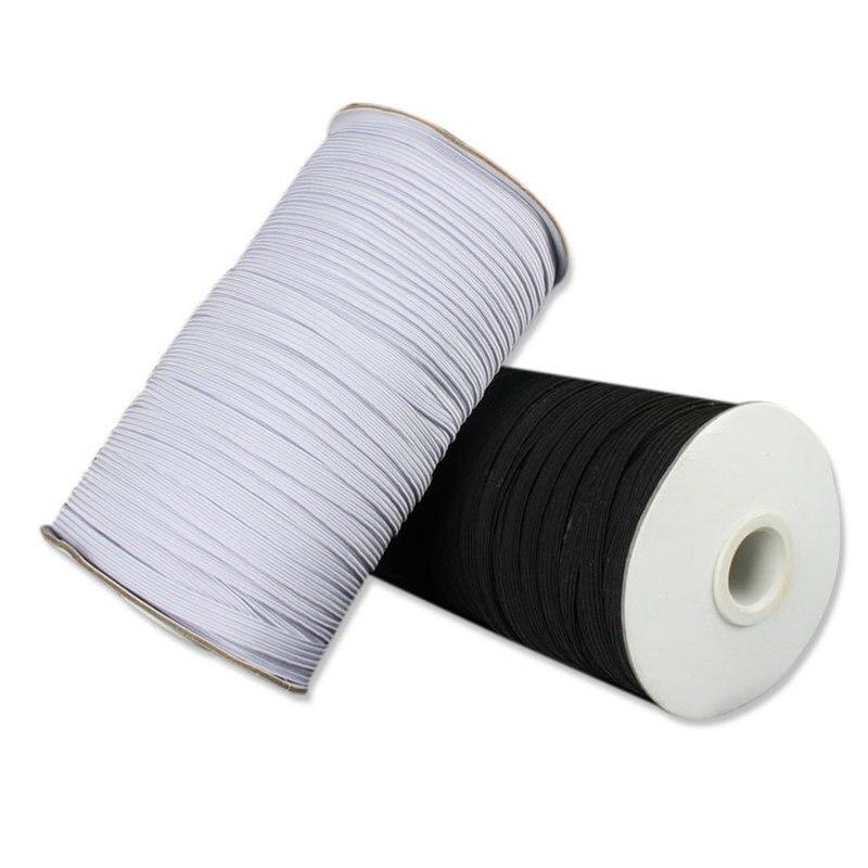 100m Elastic Band Masks White Black 3 6mm Elastic Cord Flat Rubber