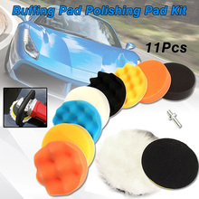 11Pcs/Set 3inch/80mm 4inch/100mm Buffing Pad Polishing Pad Kit For Car Polisher Pads M10 Drill Adapter Thread Abrasive Tools