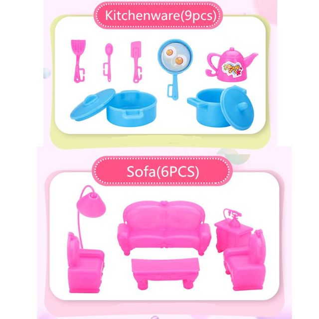 94pcs Doll Furniture Pretend Play Toy Sofa Shoes Jewelry For Doll Brabie Kelly Doll House Accessories Girl Present  Wholesale 5