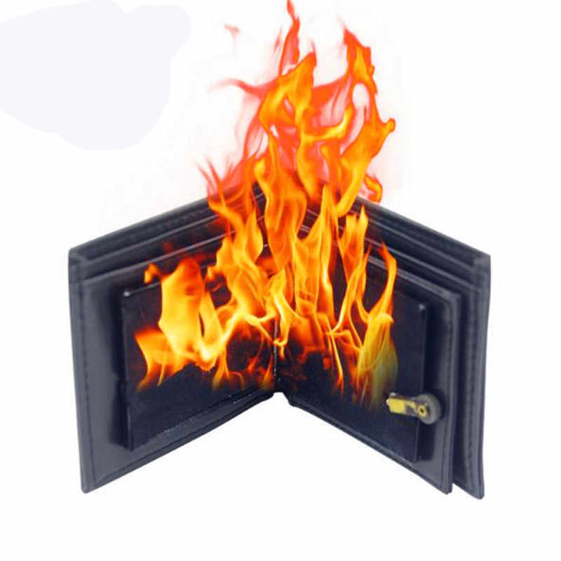 1 PC Fashion Multifunctional Magic Wallet Big Flame Fire  Magician Funny Show Tools Rubber Bifold Wallet