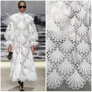 Alta gama, tela de encaje con ojal con borde festoneado, fibra de seda de leche, encaje francés nigeriano africano para mujer, vestido de fiesta, material de costura DIY