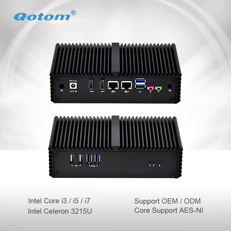 Qotom Mini PC Q300S Fanless Computer Celeron Core I3 I5 I7 With Dual HD Video Dual Gigabit Ethernet LAN Tiny Computer