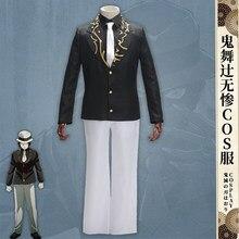 Anime demônio slayer kimetsu não yaiba cosplay kibutsuji muzan traje uniforme chapéu terno traje de halloween das mulheres dos homens feito sob encomenda