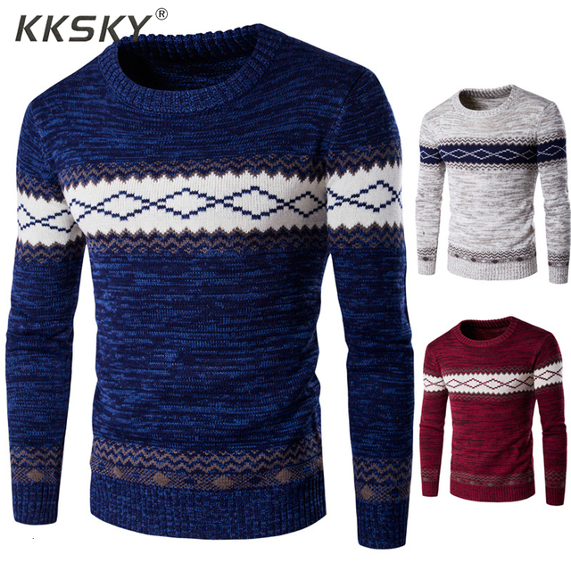 Autumn Sweaters And Pullovers Men Long Sleeve Knitted Sweater High Quality Winter Pullovers Homme Warm Navy Coat 3xl Newest