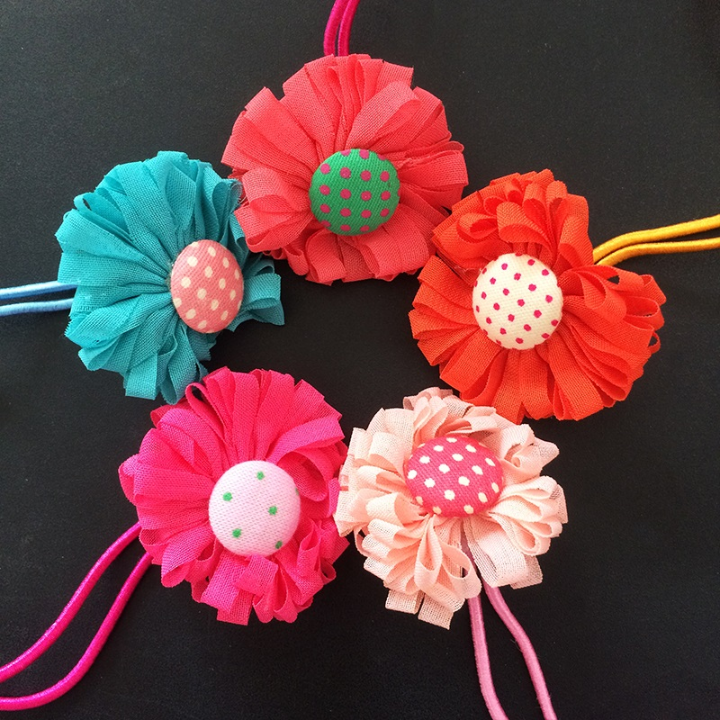 1 Pcs lot Chiffon Flower Hair Tie Rope Hair Band Colorfully Boutique Bows Elastic Hair Band Girl And Woman Hair Accessories in Hair Accessories from Mother Kids