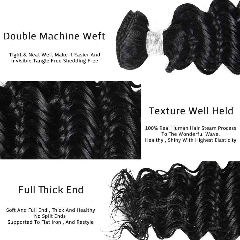 """UNA onda profunda de 8 """"-28"""", proporción media de 6A, mechones de cabello brasileño Remy, 3 mechones de cabello humano mechones 100% oferta, 100g, Color #1 # 1B #2 #4"""