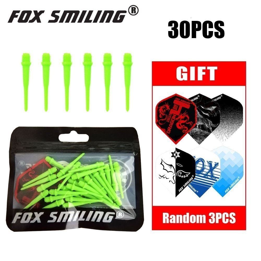 Fox Smiling 30pcs 25mm 2BA Nylon Soft Tip For Soft Tip Darts And Electronic Darts Tips With 3PCS Free Flights Today