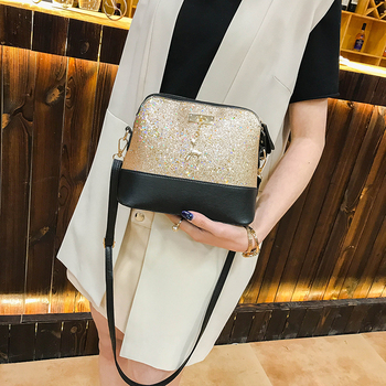 Vintage Sequins Splice Leather Women Bags Fashion Small Shell Bag With Deer Toy Women Shoulder Bag Casual Crossbody Bag women summer bag small sequins shell shape chain bag ladies fashion sequine samll shoulder bag girls cute crossbody bag