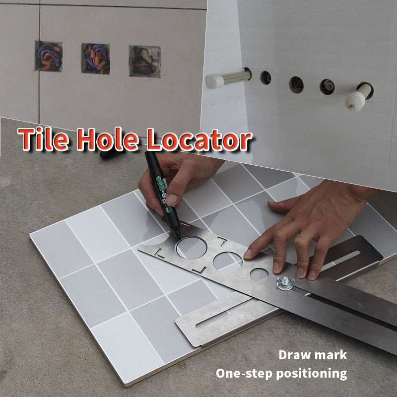 High Quality Tile Opening Locator Multi-Functional Stainless Steel Adjustable Punching Glass Tile Wall Marking Tool