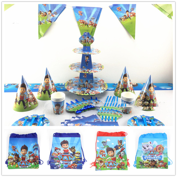 New Paw Patrol Party Non-woven Fabrics Drawstring Backpack Gift Bag school bags Disposable Tableware Sets Party Supplies