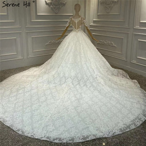 Image 2 - White Luxury Vintage O Neck Zipper Wedding Dresses 2020 Long Sleeves Beading Handmade Flowers Bride Gowns HA2314 Custom Made