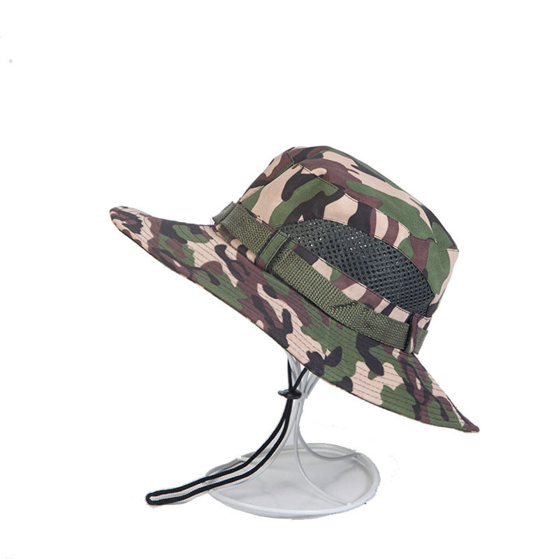 Hollow Wide Brim Cotton Visor Military Tactics Camo Sun Men Cap Bucket Hat