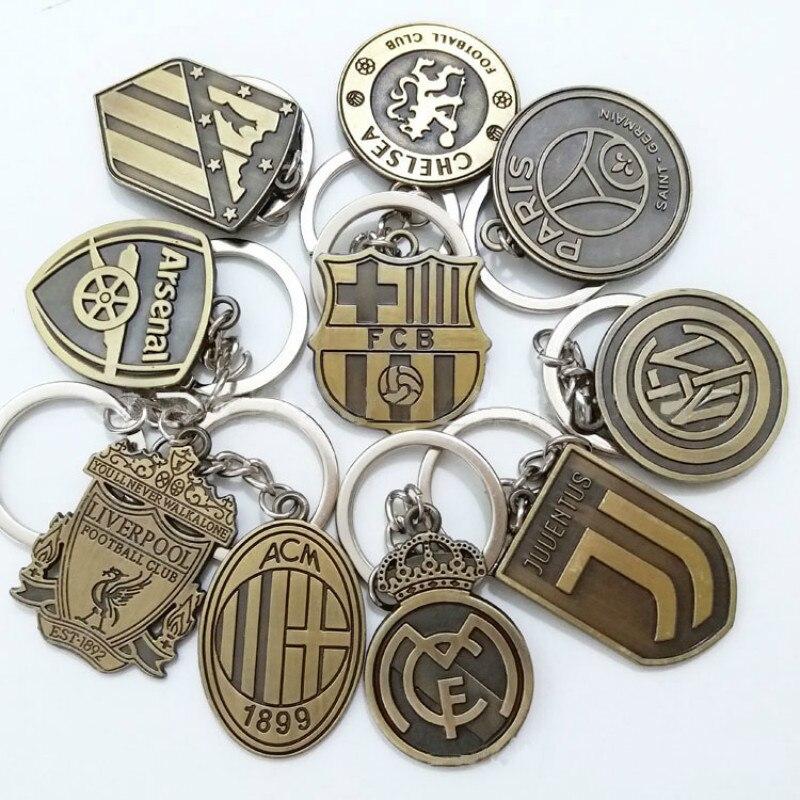 La Liga de La Liga Premier Ligue de La Serie A un equipo de fútbol logotipo fans Kawaii grises anatomía acessorios llaveros infantiles anillo de llave