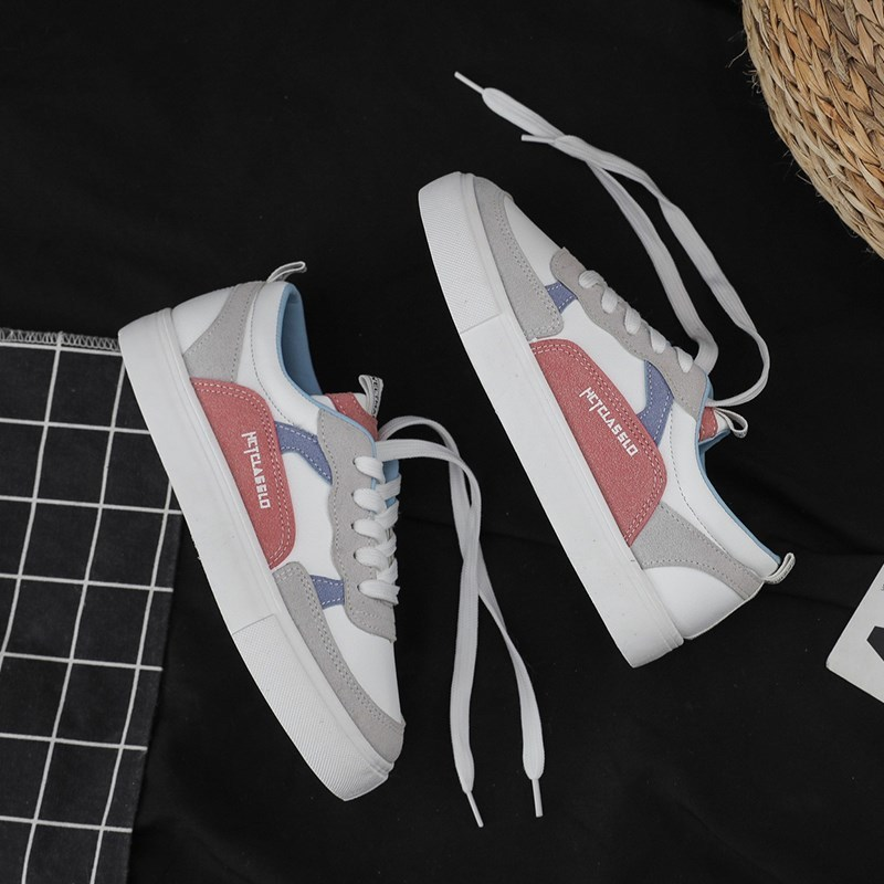 Korean Easy-matching New Women White Sneakers Spring Flat With Students Sports Shoes Casual Multicolor Round Toe Lace-up Shoes
