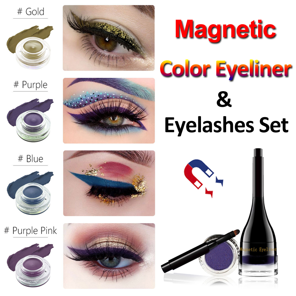 4 Colors Magnetic Eyeliner Magnetic Eyelashes Set Natural Thick Handmade No Glue Hypoallergenic Magnetic Eyelash New Arrivals