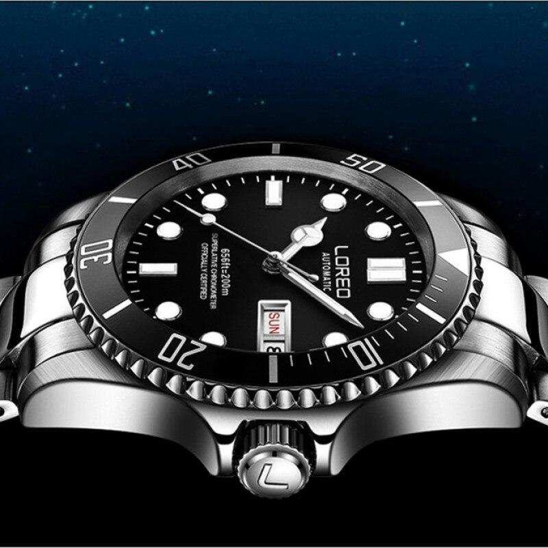 200m Waterproof Sport Watch Automatic LOREO Mens Watches Top Brand Luxury Sapphire Calendar Week Luminous Full Steel Diver Watch