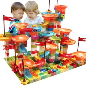 77-308 pièces marbre course course grand bloc Compatible Duploed blocs de construction entonnoir blocs coulissants bricolage briques jouets pour les enfants(China)