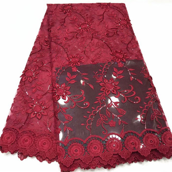 African French Sequins Laces Fabric 2019 High Quality Red Wine Lace Fabric Nigerian Tulle Mesh Lace Fabrics for Wedding jy66-353