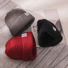 Lady Winter new Hat Women Warmer cute hat Ribbed Knitted Cuffed Short Solid Ladies Casual cap Color Beanie Wholesale